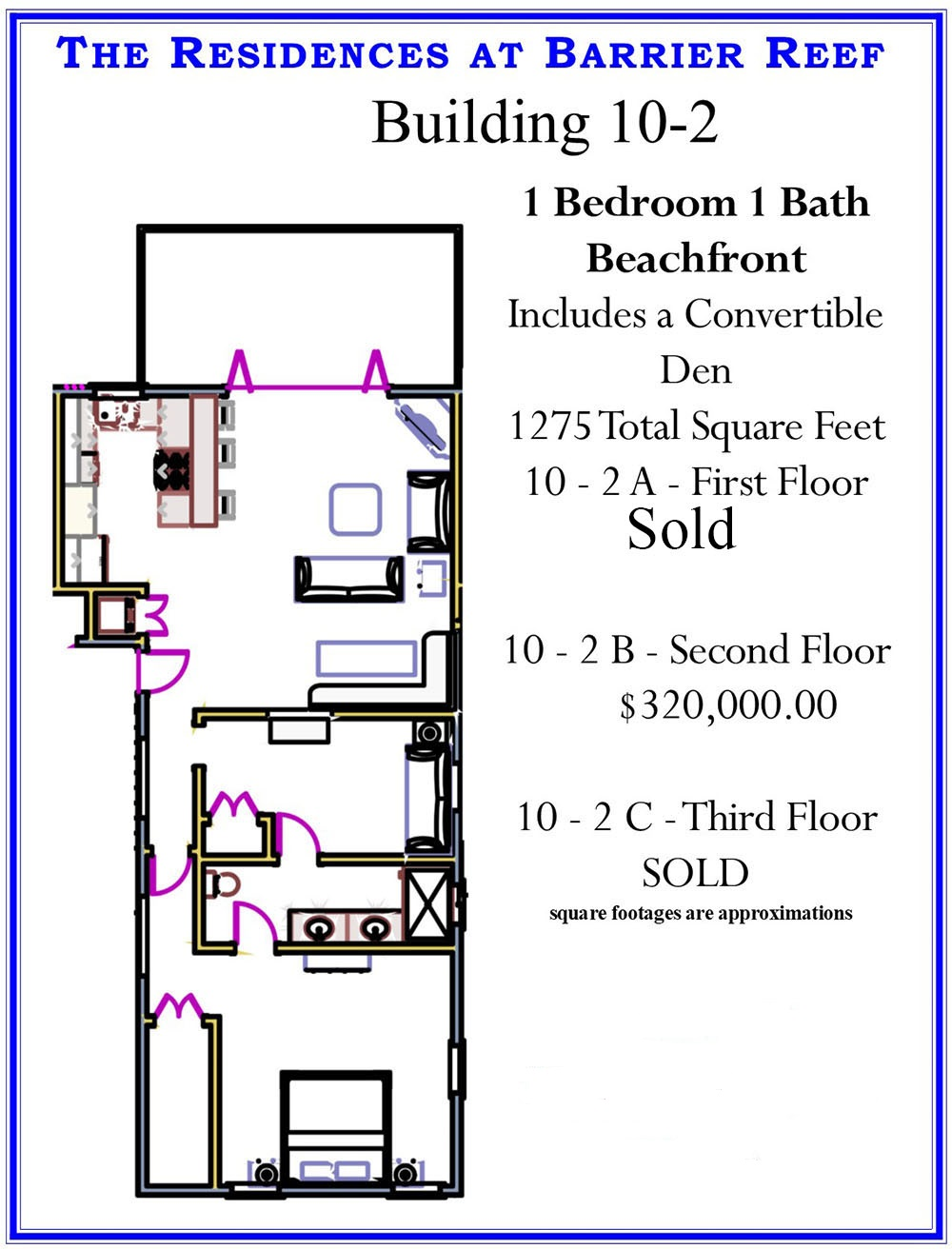 Oceanfront Condominium Building 10-2 at Residences at Barrier Reef, Ambergris Caye, Belize
