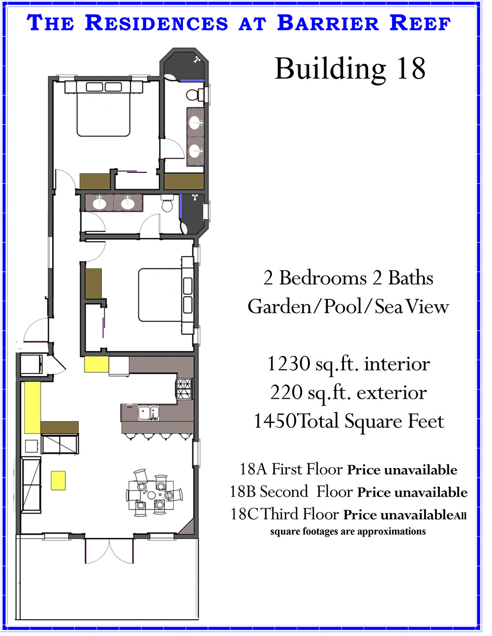 Oceanfront Condominium Building 18 at Residences at Barrier Reef, Ambergris Caye, Belize